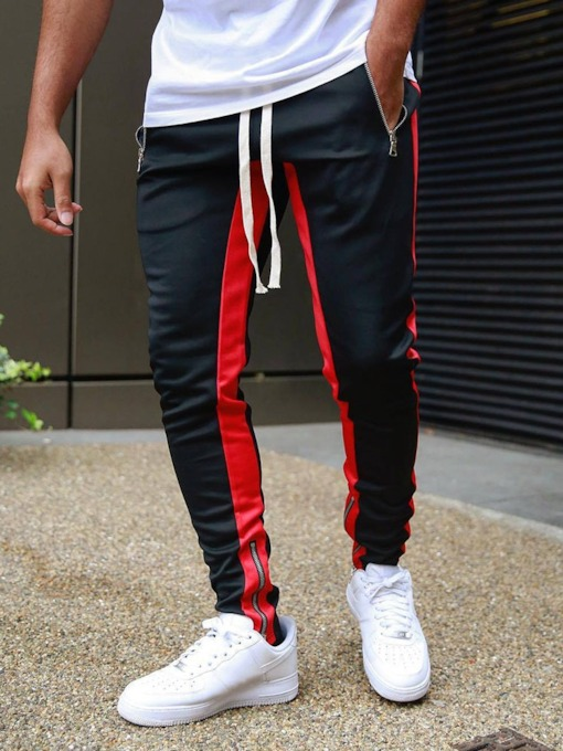 Pencil Pants Patchwork Color Block Hip Hop Men's Casual Pants