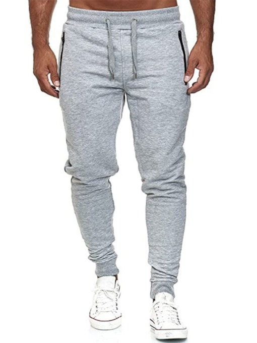 Plain Pencil Pants Zipper Sports Men's Casual Pants
