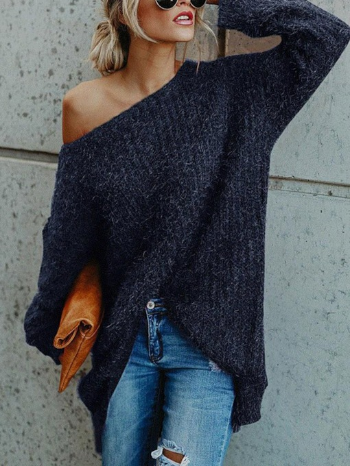 Pullover Patchwork Thin Regular Long Sleeve Women's Sweater