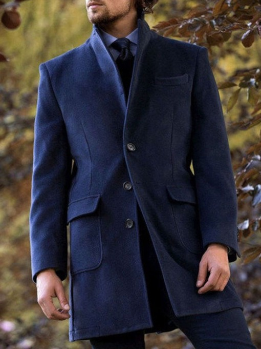 Plain Pocket Mid-Length European Men's Coat
