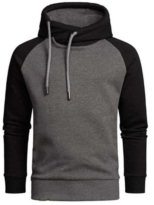 Color Block Patchwork Pullover Fleece Slim Men's Hoodies