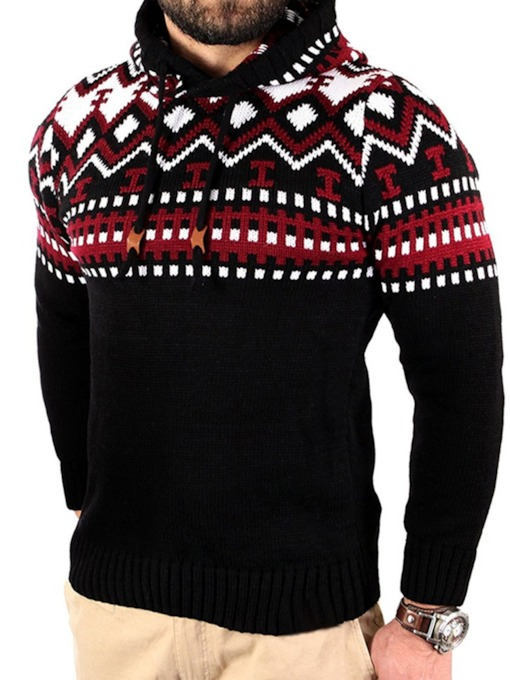 Geometric Hooded Standard European Men's Sweater