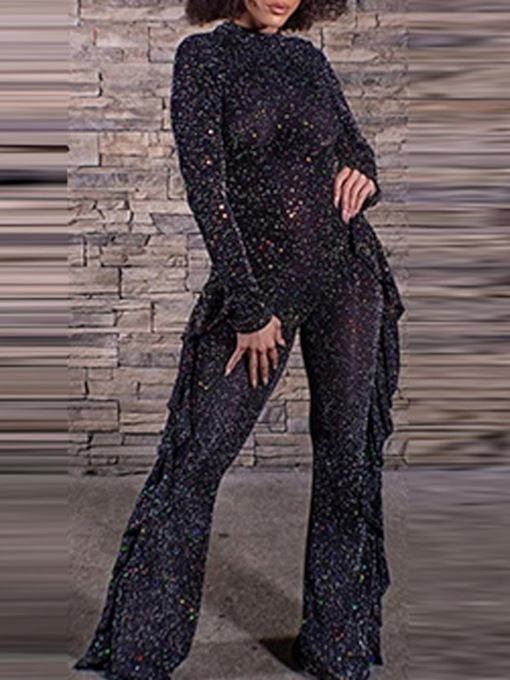 Sexy Full Length Sequins Plain Straight Women's Jumpsuit