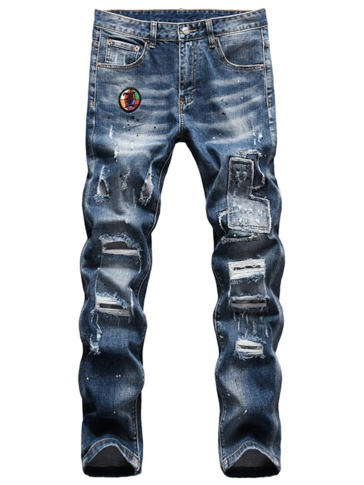 Hole Worn Pencil Pants Zipper Men's Jeans