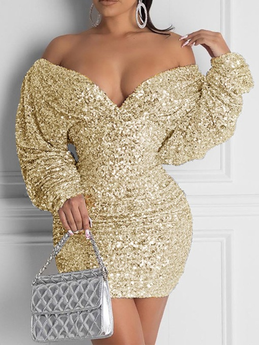 Long Sleeve Sequins Above Knee V-Neck Fall Women's Dress