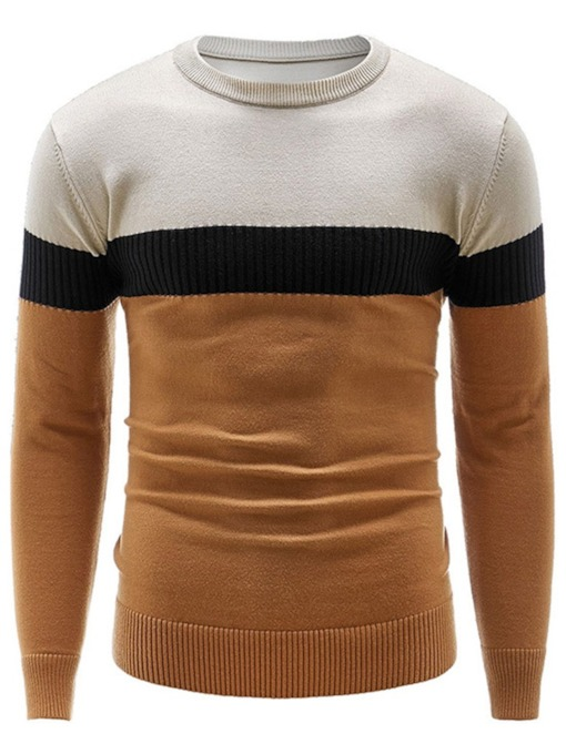 Round Neck Patchwork Color Block Standard Casual Men's Sweater