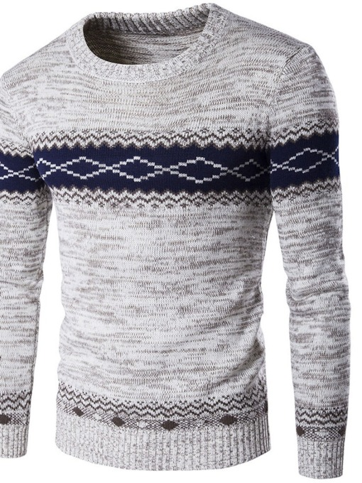 Geometric Standard Patchwork Round Neck Casual Men's Sweater