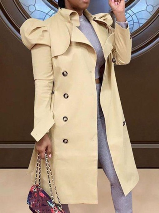 Lapel Long Button Long Sleeve Women's Trench Coat
