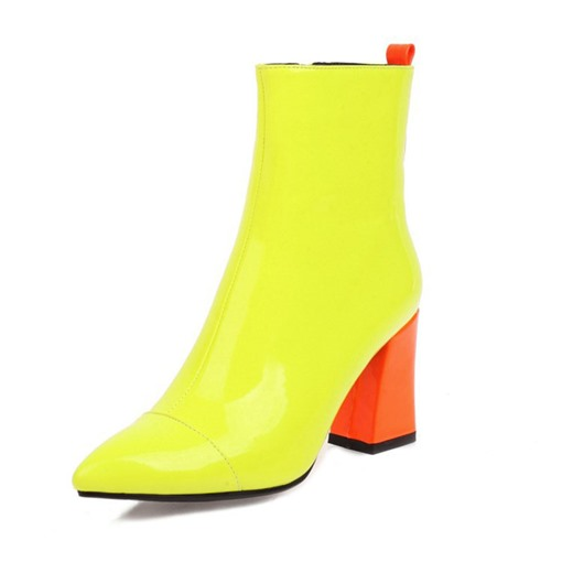 Color Block Pointed Toe Side Zipper Chunky Heel Thread Boots