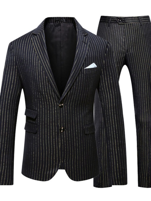 Stripe Blazer Single-Breasted Men's Dress Suit