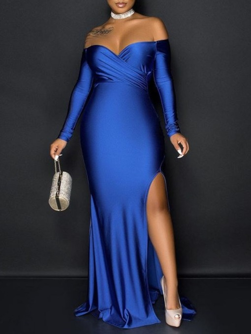 Off Shoulder Floor-Length Long Sleeve Split Dress Women's Dress