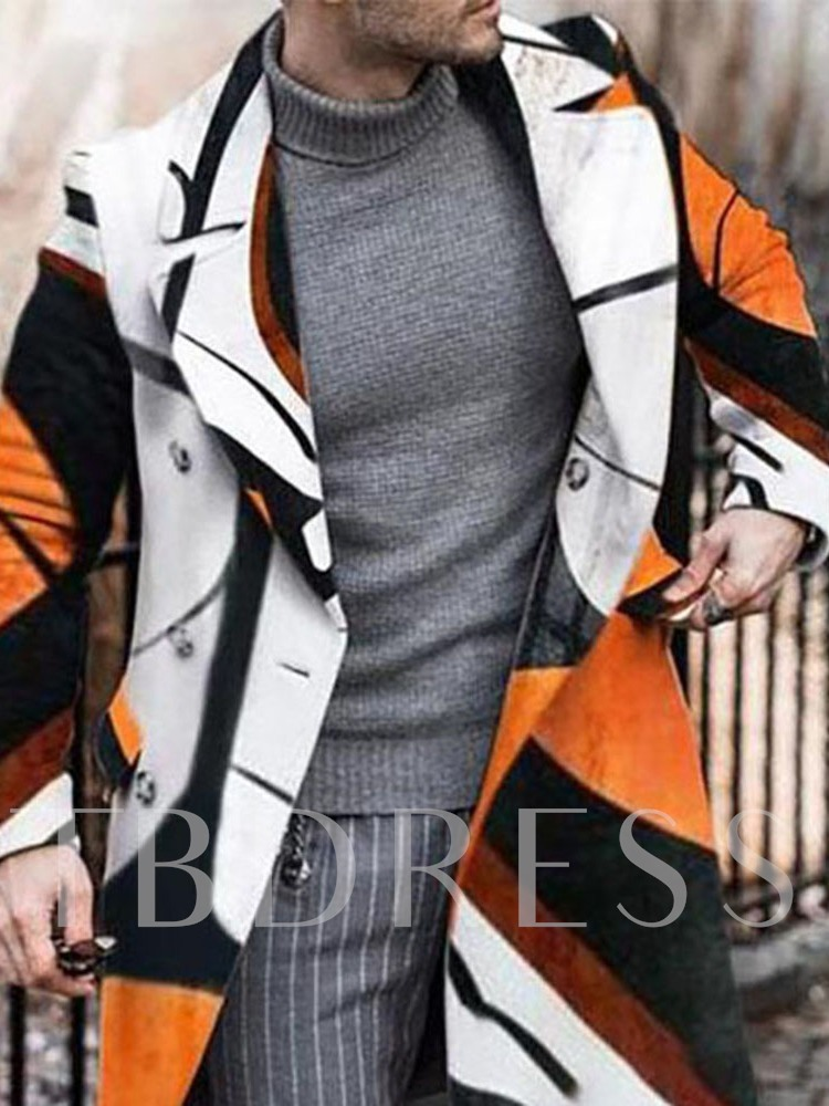 Mid-Length Color Block Winter Men's Coat