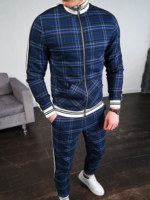 Casual Pants Patchwork Plaid Fall Men's Outfit