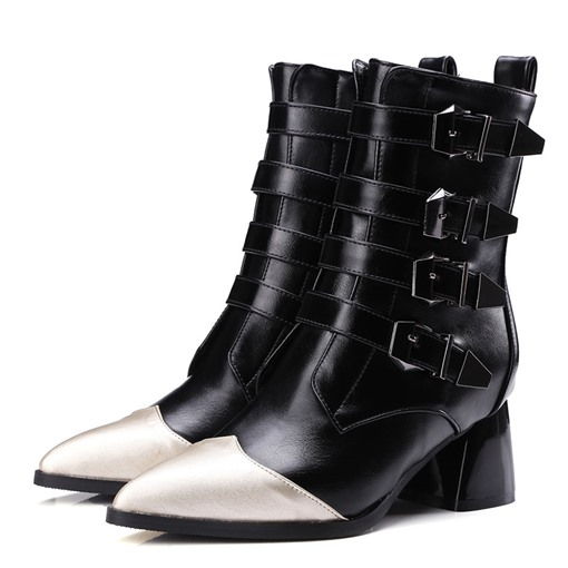 Pointed Toe Hasp Color Block Thread Boots
