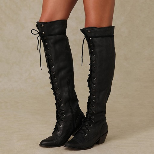 Chunky Heel Side Zipper Pointed Toe Plain Short Floss Boots