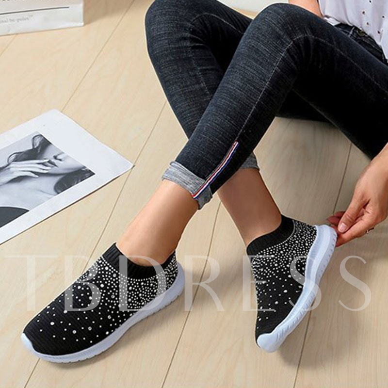 Slip-On Rhinestone Round Toe Low-Cut Upper Flat With Sneakers