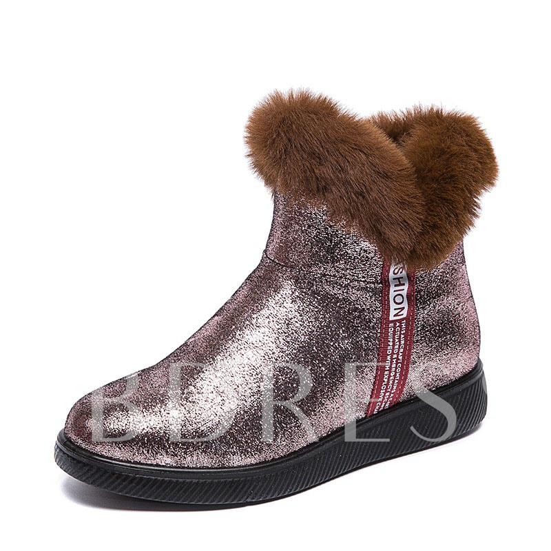 Side Zipper Flat With Letter Round Toe Sequin Boots