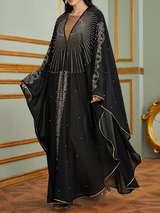 Long Sleeve Floor-Length Rivet Straight Women's Dress