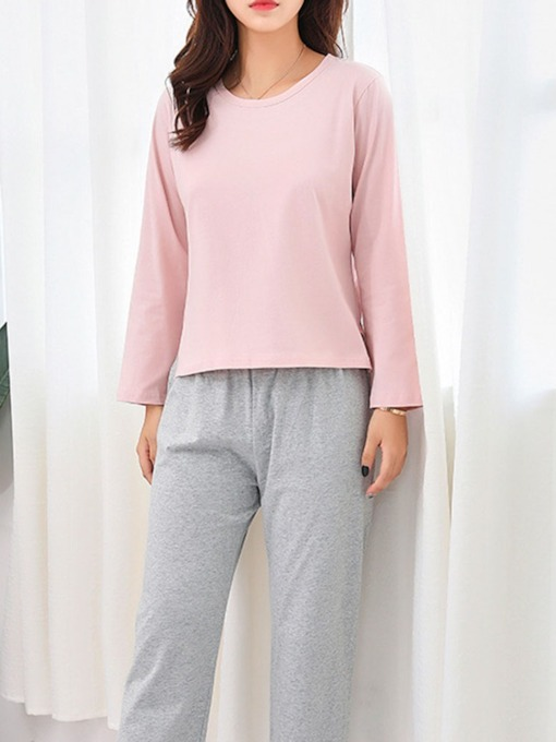Plain Simple Pullover Women's Pajama Suit