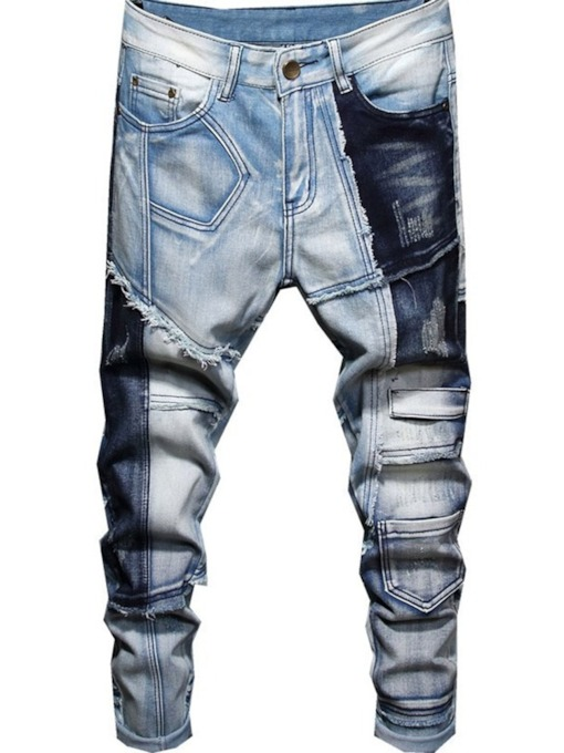 Pencil Pants Worn Color Block Mid Waist Men's Jeans