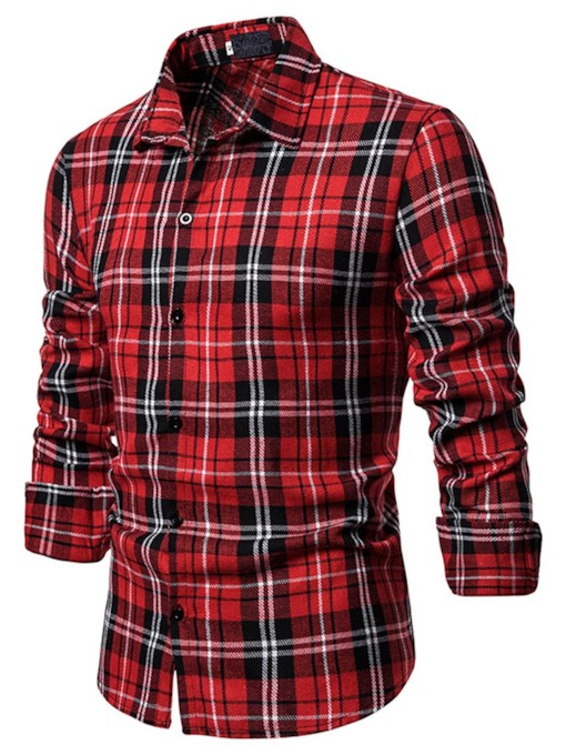 Plaid Lapel Casual Print Fall Men's Shirt