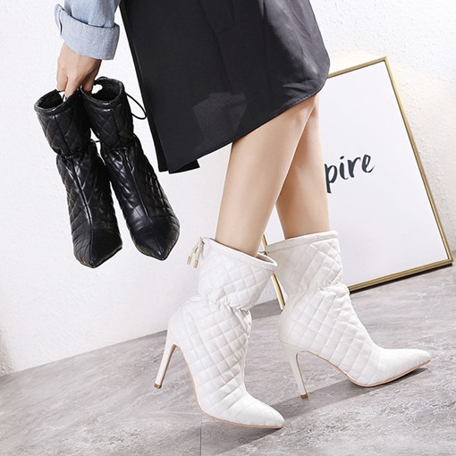 Stiletto Heel Lace-Up Back Plain Pointed Toe Thread Boots