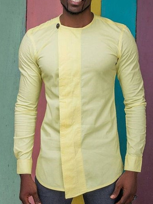 Ethnic Round Neck Plain Asymmetric Fall Men's Shirt