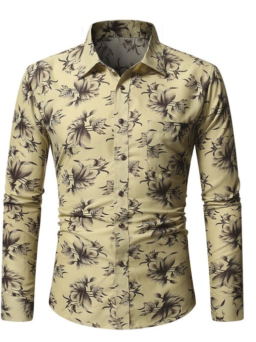 Lapel Floral Casual Print Single-Breasted Slim Men's Shirt