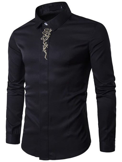 Embroidery Floral Lapel Single-Breasted Men's Shirt