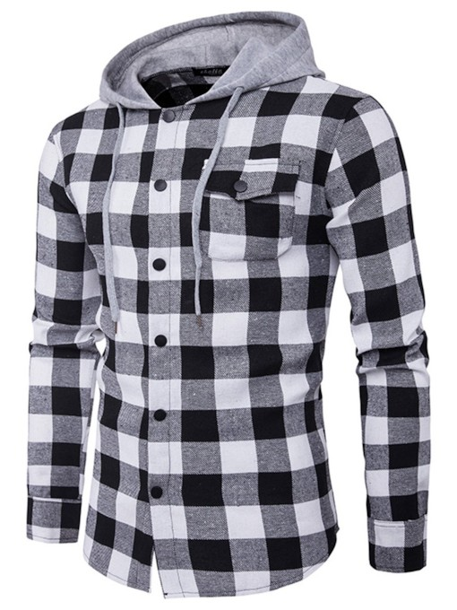 Hooded Pocket Plaid Casual Fall Men's Shirt