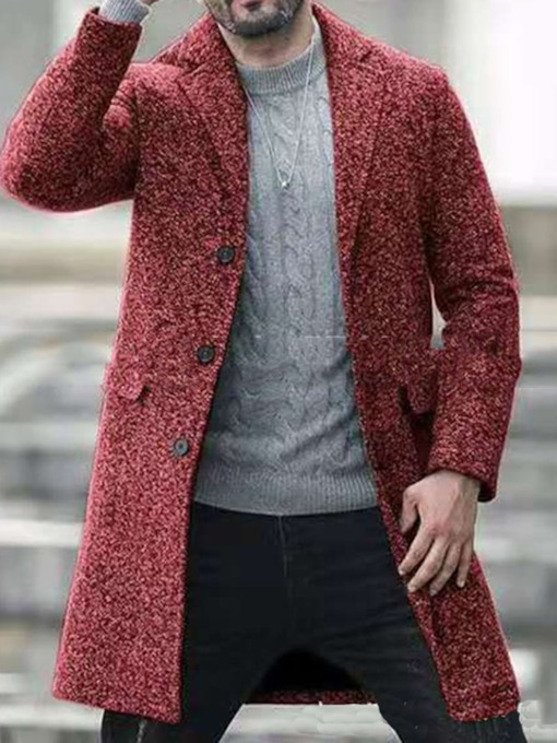 Plain Notched Lapel Mid-Length Winter Men's Coat