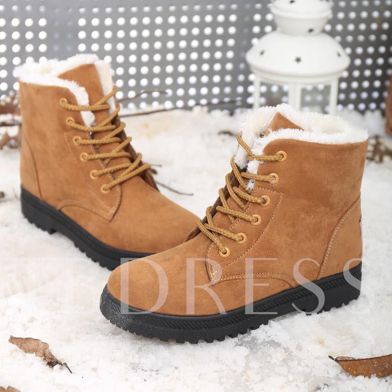 Round Toe Lace-Up Front Block Heel Plain Casual Boots