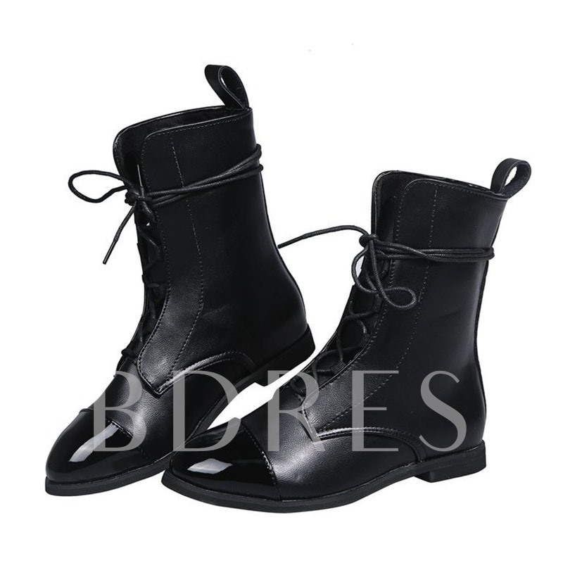 Patchwork Block Heel Lace-Up Front Pointed Toe Thread Boots