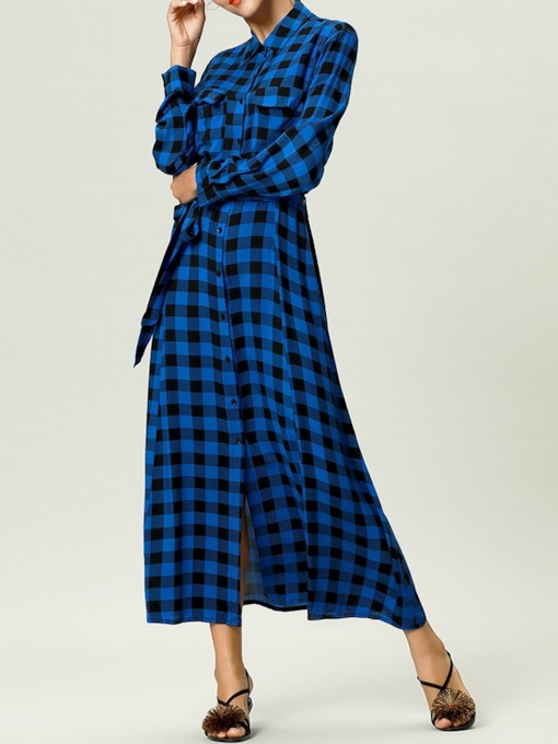 Long Sleeve Button Ankle-Length Single-Breasted Women's Dress