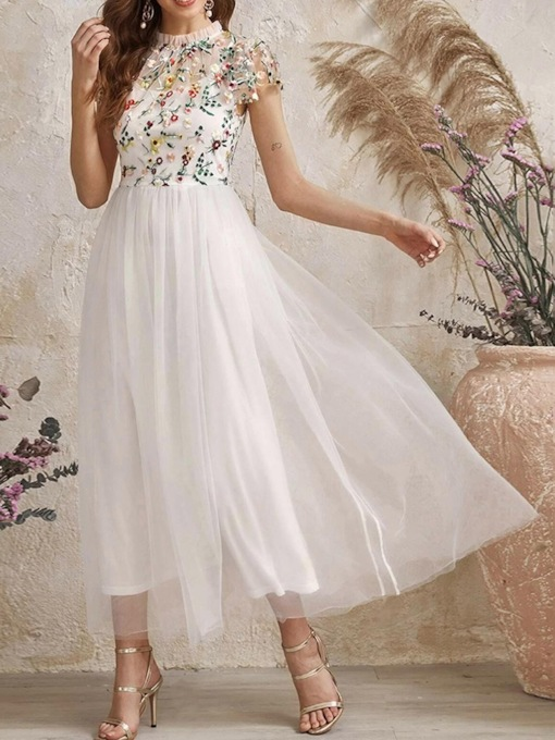 Ankle-Length Embroidery Stand Collar Short Sleeve Fashion Women's Dress