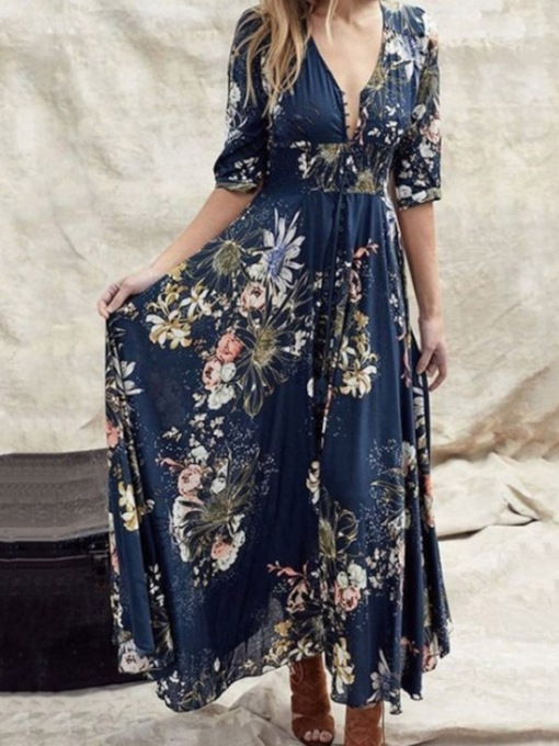 Half Sleeve Floor-Length Button V-Neck Summer Women's Dress