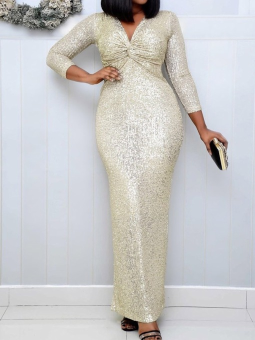 Sequins Floor-Length V-Neck Nine Points Sleeve Bodycon Women's Dress