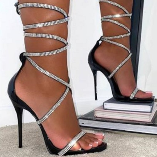 Heel Covering Open Toe Stiletto Heel Lace-Up Plain Sandals