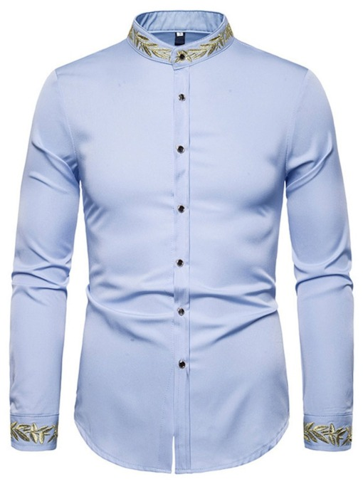 Embroidery Stand Collar Embroidery Slim Men's Shirt