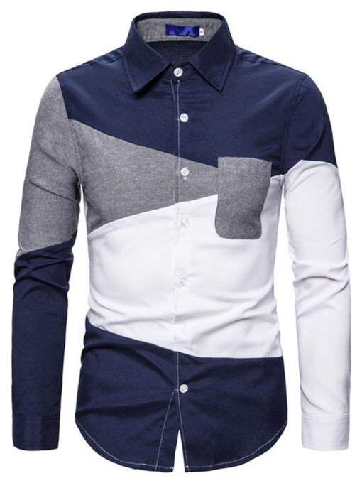 Color Block Patchwork Casual Lapel Single-Breasted Men's Shirt