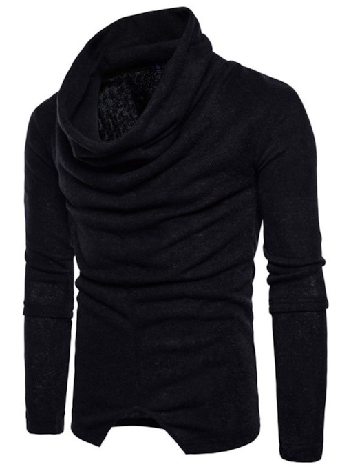 Plain Standard Heap Collar Casual Men's Sweater