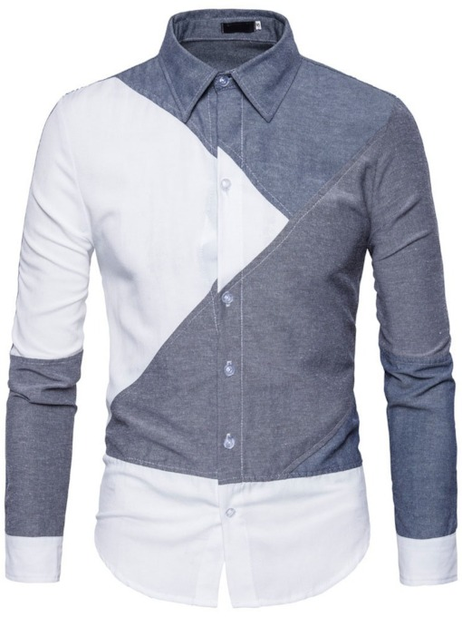 European Lapel Patchwork Color Block Single-Breasted Men's Shirt