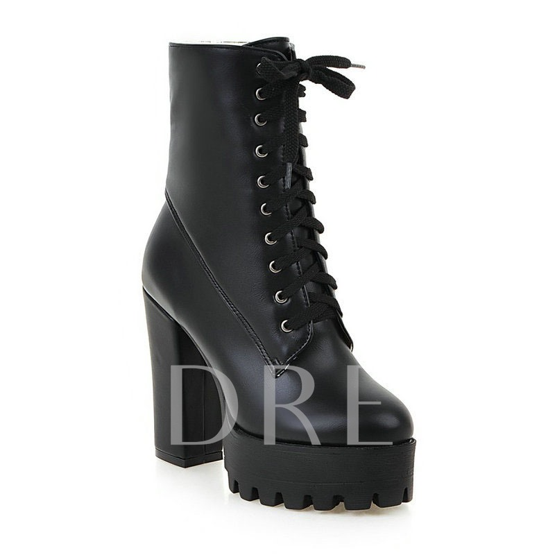 Chunky Heel Round Toe Plain Lace-Up Front Platform Boots