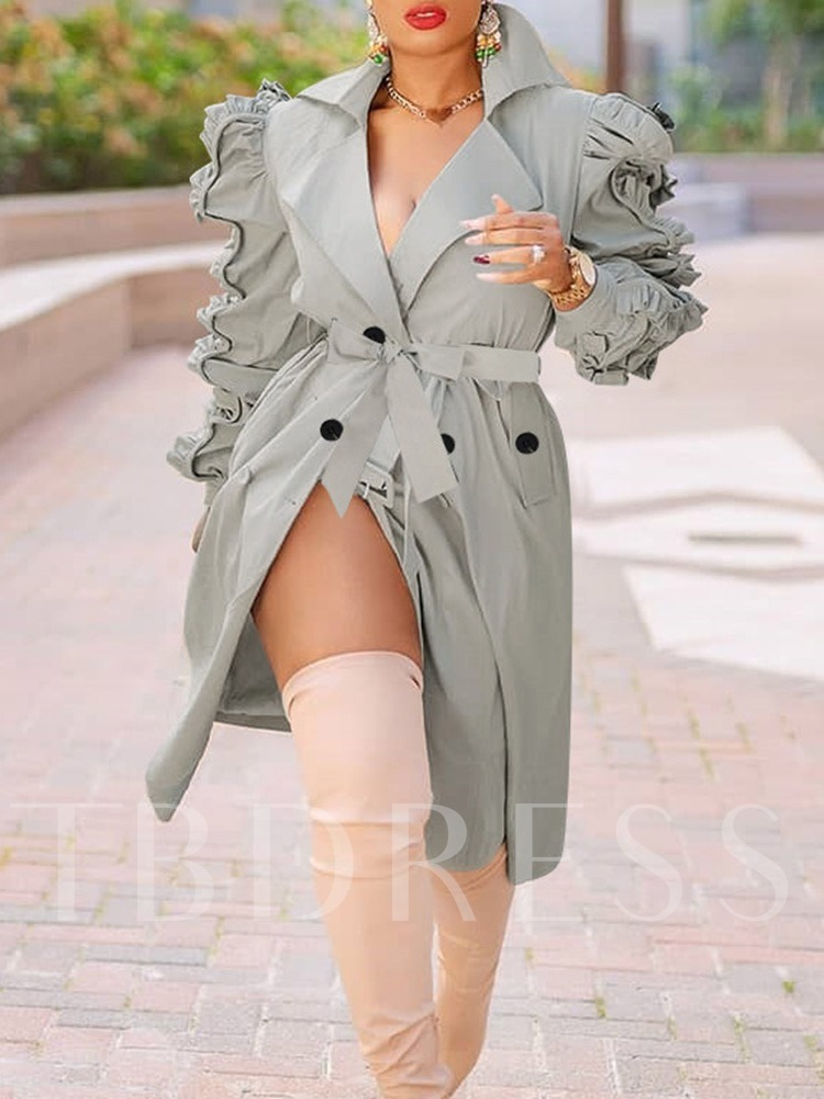 3D Long Notched Lapel Double-Breasted Fall Women's Trench Coat