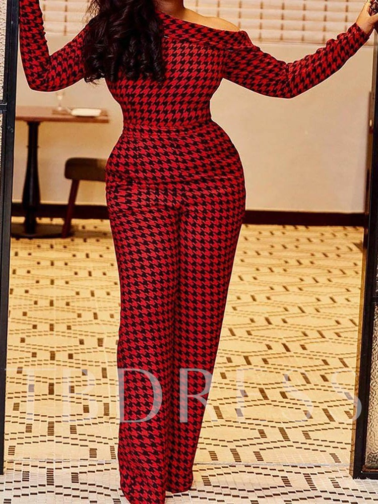 Houndstooth Print Party/Cocktail Full Length Straight Women's Jumpsuit