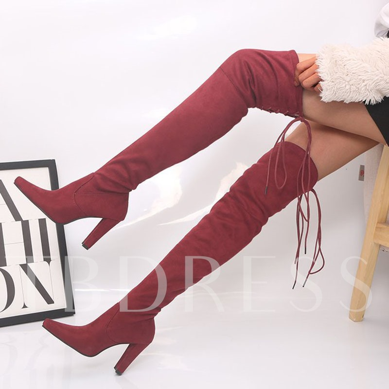 Lace-Up Back Chunky Heel Plain Pointed Toe Thread Boots