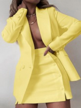 Plain Fashion Coat A-Line Women's Two Piece Sets