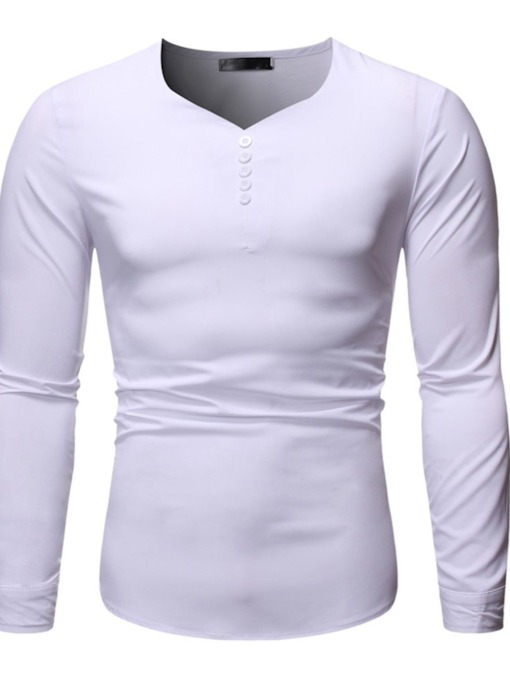 Plain Casual Button Slim Men's T-shirt