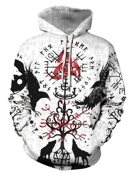 Print Pullover Casual Loose Fall Men's Hoodies
