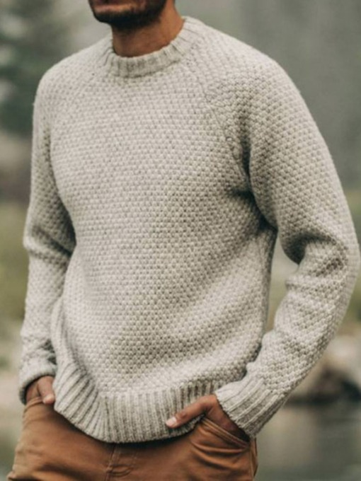 Plain Slim Standard Round Neck Casual Men's Sweater